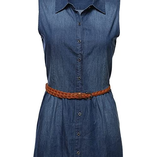 c86c7673587 Awesome21 Women's Button Down Sleeveless Denim Dress w/ Attached Belt lovely
