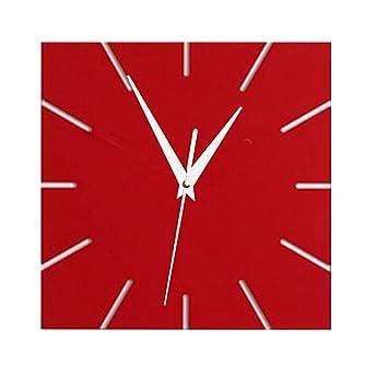 WXIN Reloj De Pared Moderno Relojes De Acrílico Relojes De Cuarzo Decoración del Hogar Bodegón Sala De Estar DIY Espejo Pegatinas De Pared - Rojo: ...