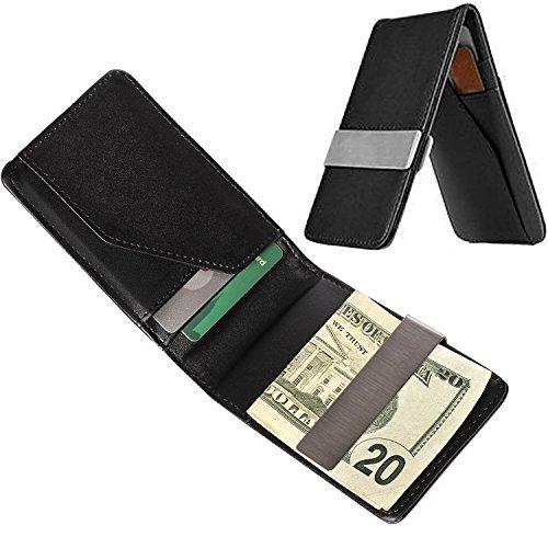 Money Clip Minimalist Wallet For Men Black Slim Front