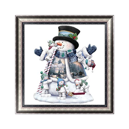 Feamos 5D Diamond Painting Embroidery Kit Christmas Snowman with Little Men Cross Stitch Craft for DIY Home Wall Decoration Gift