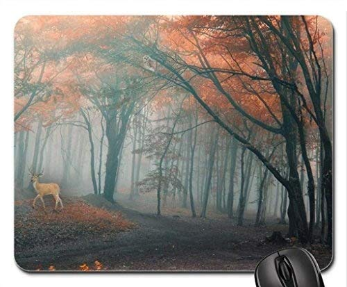 Deer in Fall Forest Mouse Pad, Mousepad (Deer Mouse Pad) ()