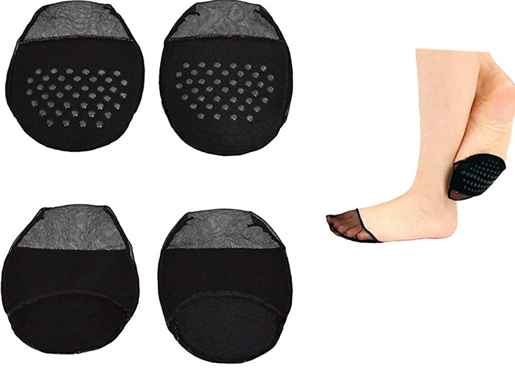 Women\'s No Show Liner Socks Sheer Toe Cover with Cushion Non-Skid Sole