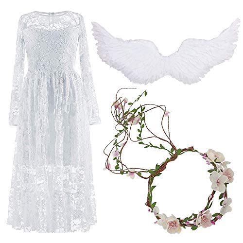 Girls Boho Lace Dress for Weddin...
