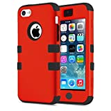 5C Case, Asstar [Stand Feature] 3 in 1 PC+Silicone Hybrid Hard Back All-round Protection Shockproof & Drop Resistance Anti-slip Cover for iPhone 5C (Red black)