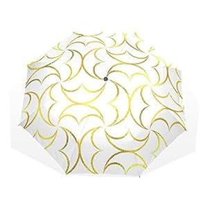 SUABO Ultralight Travel Umbrella, Golden Geometric, Ultraslim Windproof Compact Foldable Rain Umbrella