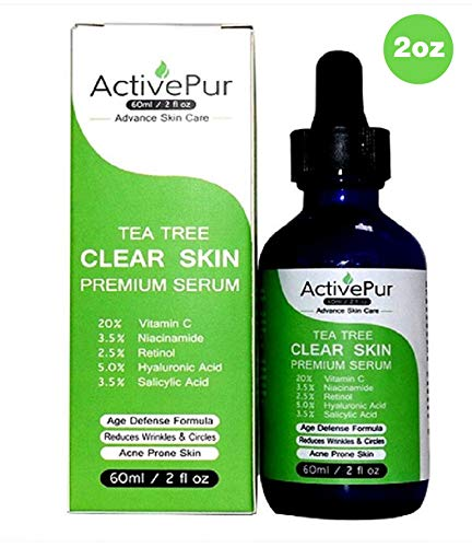 ActivePur Tea Tree Serum Oil for Acne Facial Skin Serum 20% Vitamin C Hyaluronic Acid Retinol treats Hyperpigmentation Wrinkle Anti Aging Dark Spots Blemishes & Acne Scars (Double Size - 2 OZ/60 ml). (Best Acne Serum For Sensitive Skin)