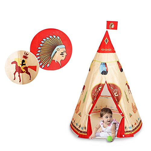 COFFLED Indian Kids Game Playhouse for Indoor& Outdoor. Portable Kids Teepee Tent 41