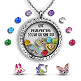 She Believed She Could So She Did Gifts For Teenage Girls | Tween Girls Gifts | Necklace For Teen Girls | Charm Locket Necklace Filled With Exclusive Charms And Feminist Necklace Quote