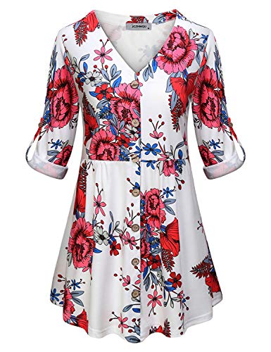 JCZHWQU Shirts for Women Work Casual, Misses Fashion Business Office Clothes Henley V Neck 3 4 Cuff Sleeve Career Tunic Blouse Plain Feminine Flower Pattern Print Dressy Babydoll Pleated Tops White L