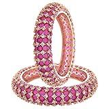 Ratnavali Jewels CZ Zirconia Gold Tone Red Diamond Elegant Bollywood Wedding Kada Bangles Jewelry Women (2.4)