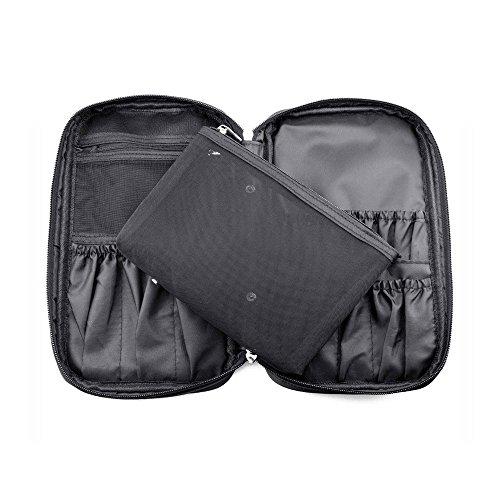 Hotrose Multifunktionale Kosmetiktäschche Schminktasche Make-up Organizer Tasche für Pinsel Aufbewahrung (Schwarz, Small)