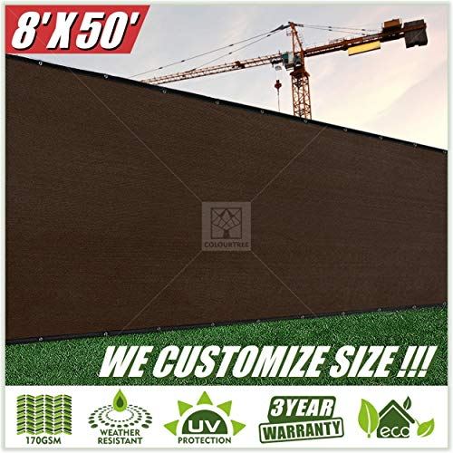 ColourTree 8' x 50' Brown Fence Privacy Screen Windscreen, Commercial Grade 170 GSM Heavy Duty, We Make Custom Size
