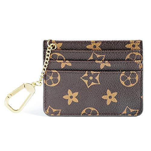 Womens Credit Card Holder Mini Wallet Key Chain pouch - Edmen (Brown-B), Small