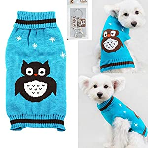 Bolbove Pet Cute Owl Cable Knit Turtleneck Sweater for Small Dogs & Cats Holiday Knitwear Cold Weather Outfit (X-Small, Blue)