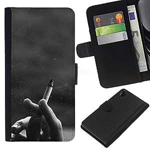 KLONGSHOP // Tirón de la caja Cartera de cuero con ranuras para tarjetas - Cigarrillos Negro Blanco Hipster - Sony Xperia Z2 D6502 //