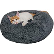 BinetGo Dog Bed Cat Bed Cushion Bed Faux Fur Donut Cuddler for Dog and Cat Joint-Relief and Improved Sleep – Machine Washable, Waterproof Bottom (Medium, Navy Grey)