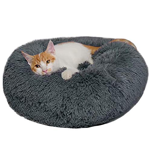 BinetGo Dog Bed Cat Bed Cushion Bed Faux Fur Donut Cuddler for Dog and Cat Joint-Relief and Improved Sleep - Machine Washable, Waterproof Bottom (Medium, Navy Grey)