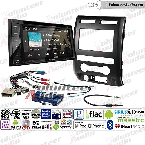 Volunteer Audio Kenwood Ddx276bt Double Din Radio Install Kit With Bluetooth Sirius Xm Ready Touchscreen Fits 2009 2010 Ford F 150 Black Retains Steering Wheel Controls
