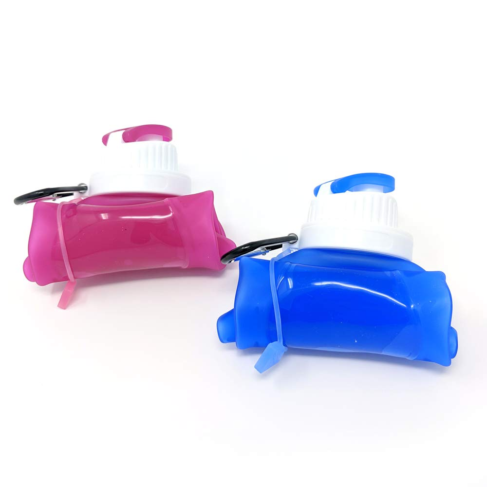 Manals Foldable Silicone Water Bottle Pink