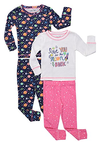 Baby Girl Pajama Long Sleeve Glitter Tops & Pants Toddler Sleepwear 4PC Set (4T, White/Azalea (Juniors One Clothing Foil)