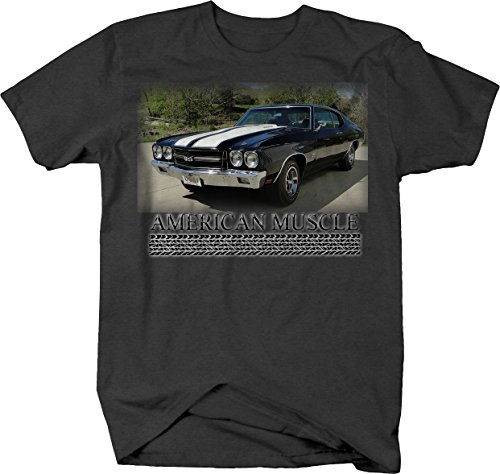 American Muscle Car Chevy Chevelle SS Racing Classic Tshirt - Medium Graphite