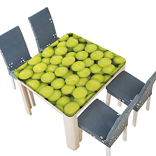 (PINAFORE Decorative Tablecloth Tennis Balls Hobby Leisure Competitive Match Lifestyle Assorted Size 49 x 49 INCH (Elastic Edge))