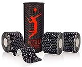 FLEXU – Black Kinesiology Tape; Super Saver 3 Roll Pack Pre-Cut; Advanced Strength and Flexibility...