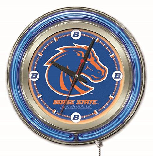 Broncos Neon Clock - Holland Bar Stool Company NCAA Boise State Broncos Double Neon Ring 15-Inch Diameter Logo Clock