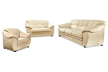 Sofa Couch Sitmore Garnitur 3 2 1 Savona Creme Mit Federkern