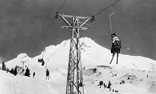 Mt. Hood, Oregon - Timberline Lodge Mile Long Chair Ski Lift - Vintage Photograph (24x36 Giclee Gallery Print, Wall Decor Travel ()