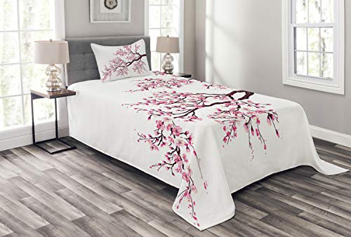 Ambesonne Japanese Bedspread Set Twin Size, Branch of a Flourishing Sakura Tree Flowers Cherry Blossoms Spring Theme Art, 2 Piece Decorative Quilted Coverlet with 1 Pillow Sham, Dark Brown