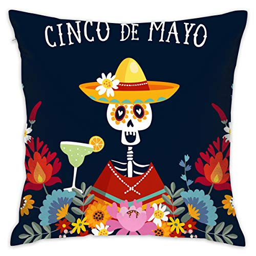 SARA NELL Velvet Throw Pillow Cases,Cinco De Mayo Greeting Invitation,Pillow Covers Decorative 18x18 in Pillowcase Cushion Covers with Zipper ()