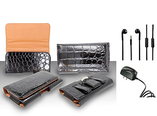 For Nokia Lumia 830 (AT&T) - Premium Black Shell Horizontal Leather Belt Case Clip Holster Pouch (Fit for With Slim Case Together) + Travel Charger + 3.5MM Stereo Earphones (Nokia Lumia 830 Otterbox)