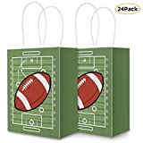 Football Party Bags Gift Bag Kraft Bag with Handle for Birthday,Football Goodie Bags,Football Theme Party Favor bags and and Football Party Celebrations(24Pack)