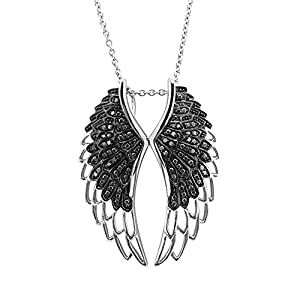 Sterling Silver Angel Feather Wing BLACK Diamond Pendant Necklace (1/2 carat)