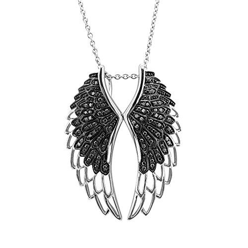 Sterling Silver Angel Feather Wing BLACK Diamond Pendant Necklace – 0.50 carat