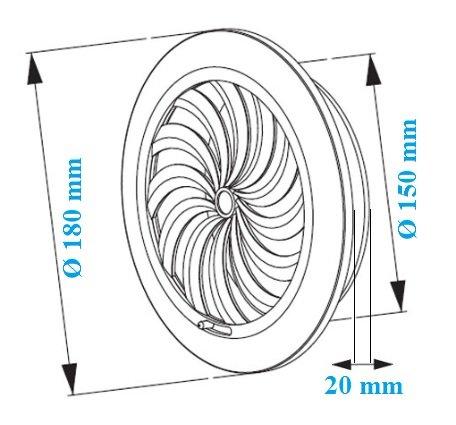 Rejilla de ventilaci/ón con mosquitera T 89 forma redonda de pl/ástico con cierre di/ámetro 15 cm color blanco
