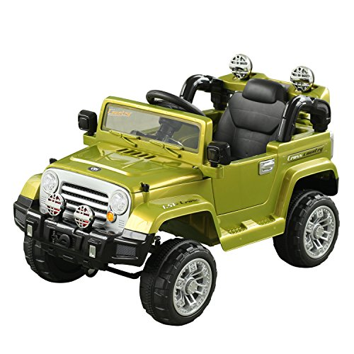 Aosom 12V Kids Electric Battery Powered Ride On Toy Off Road Car Truck w/ Remote Control - Green