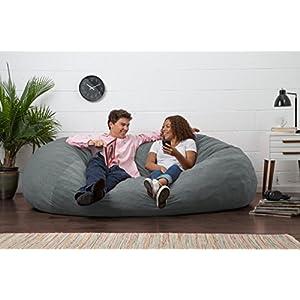 Big Joe XL Fuf Foam Filled Bean Bag Chair, Comfort Suede, Steel Grey