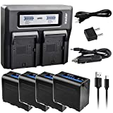 Kastar 4 Pack Battery and LCD Dual Fast Charger for Sony NP-F980 Pro NP-F970 Sony NP-F330 NP-F550 NP-F570 NP-F730 NP-F750 NP-F770 NP-F930 NP-F950 NP-F960 NP-F970NP-F970PRO NP-F980 NP-F980PRO