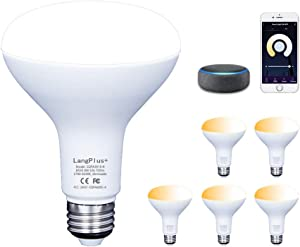 Smart Light Bulb, LangPlus+ BR30 Bi-Color Dimmable LED Light Bulbs 2700k-6500k 800 Lumen 7W (65W Equivalent) No Hub Required, E26 Base 2.4GHz Wi-Fi Light Bulb Compatible with Alexa and Google Home