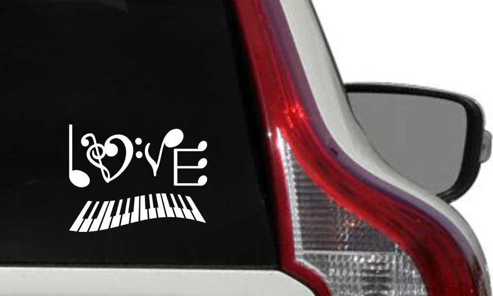 Music Note Love Text Piano Keyboard Car Vinyl Sticker Decal Bumper Sticker for Auto Cars Trucks Windshield Custom Walls Windows Ipad MacBook Laptop Home and More (White)