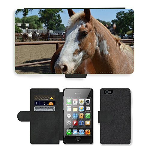 Just Phone Cases PU Leather Flip Custodia Protettiva Case Cover per // M00127771 Talahi Ruff Stock Horse Rodeo Stock // Apple iPhone 4 4S 4G