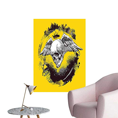 "Modern Painting The Death Angel Crowned Skull with Wide Magnificent Feather Wings Yellow Back and Home Decoration,20""W x 36""L"
