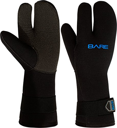 Finger 7mm Three Glove Mitt - Bare 7mm K-Palm Three-Finger Mitt, Black - Medium
