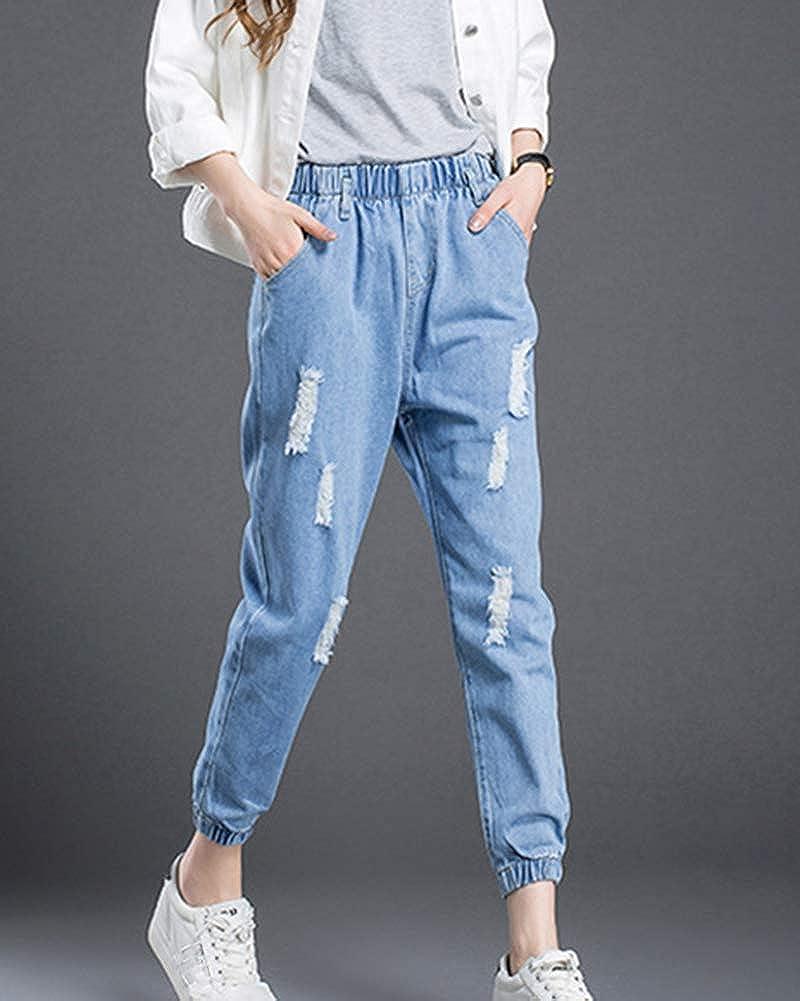 Mujer Cintura Elastica Pantalones Vaqueros Rasgado Sueltos Jeans Pantalones De Mezclilla Mujer Vaqueros