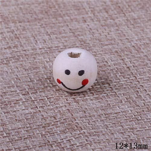 (Calvas 70pcs/Lot 12mm Natural Wooden Smile Face Beads Fashion Big Hole Painted Printing Wood Beads for DIY Jewelry Making Decoration - (Color: 12mm 70pcs))