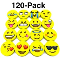 OHill Pack of 128 Pack Emoji Pencil Erasers 16 Emoticons Novelty Erasers for Party Favors School Classroom Prizes…