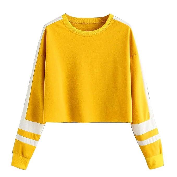 Sudaderas Cortas Mujer Tumblr - Cuello Redondo Camiseta de Manga Larga Raya de Patchwork Estampado para Adolescentes Chicas Niña Otoño e Invierno Ropa: ...