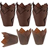 Tulip Baking Cups 150-Pack Natural Cupcake Muffin Paper Liners Grease-Proof Wrappers for Wedding, Birthday Party, 1.96 x 3.14 Inch, Brown Color